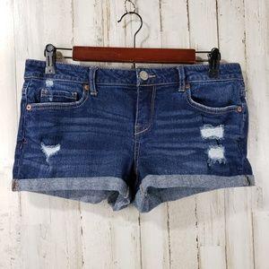 Aeropostale Womens Jean Shorts Blue Distressed